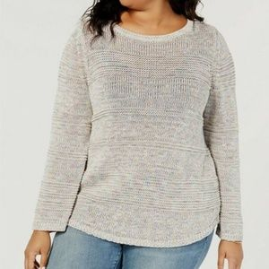 Style Co Plus Size Textured-Stripe Conf Sweater